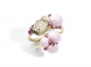 Pomellato_Capri rings_Ceramics and Bahia ring_SmokyQuartzRubies